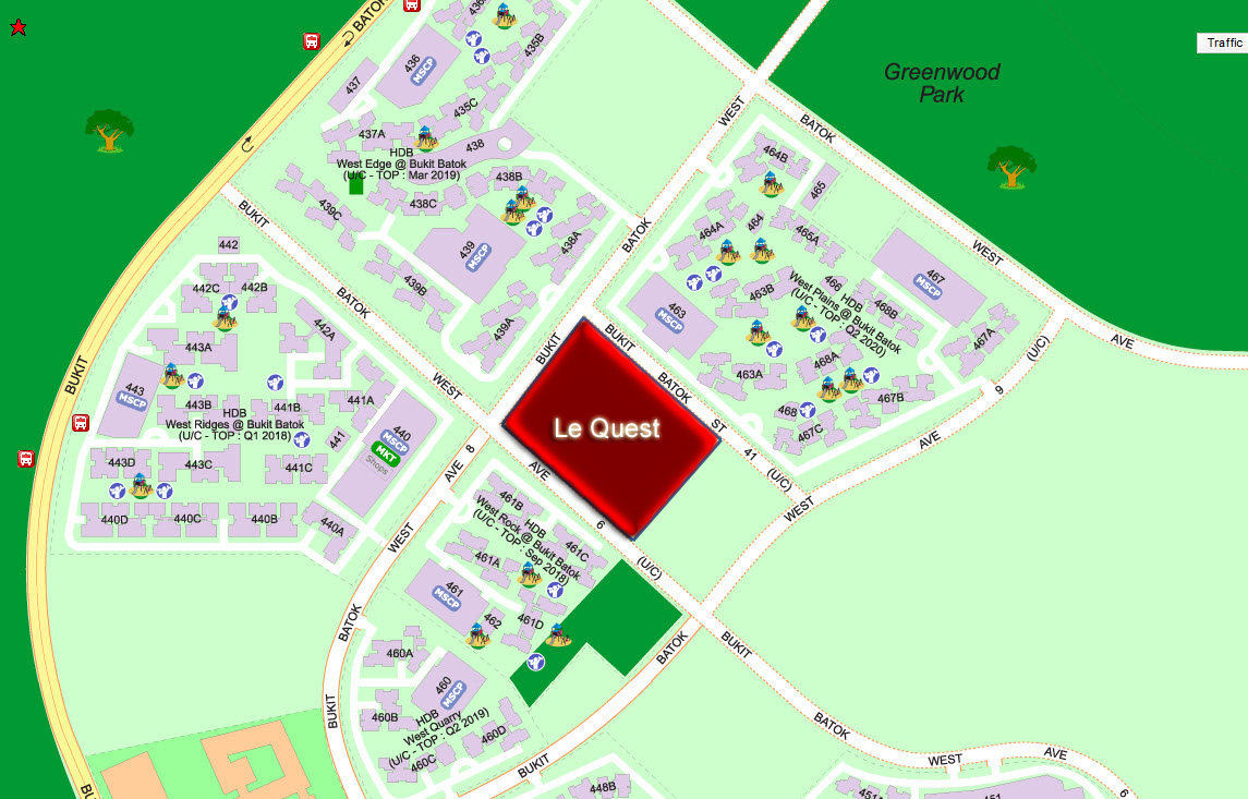 Le Quest Condo Location Bukit Batok West Ave 6 at Jurong East MRT Station
